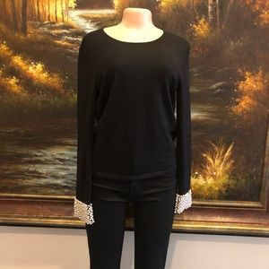 Talbots pearl embellished sweater